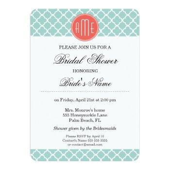 mint and coral quatrefoil with custom monogram invitation