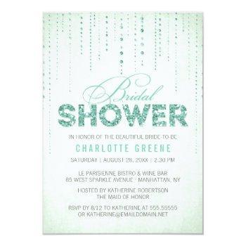 """mint glitter look bridal shower -4.5"""" x 6.25"""" invitation"""