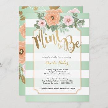 mint & gold wedding shower invitation - mint to be
