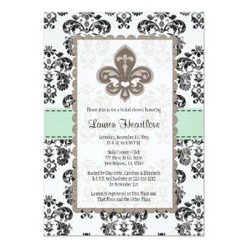 mint green fleur de lis bridal shower invitations