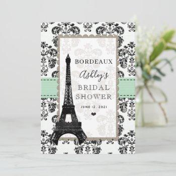 mint green parisian eiffel tower city table cards