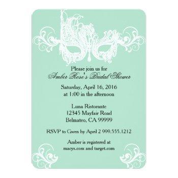 mint masquerade bridal shower invitation