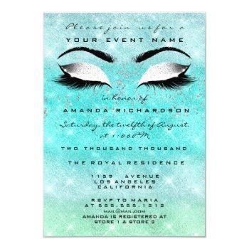 mint ocean makeup white glitter 16th bridal shower invitation