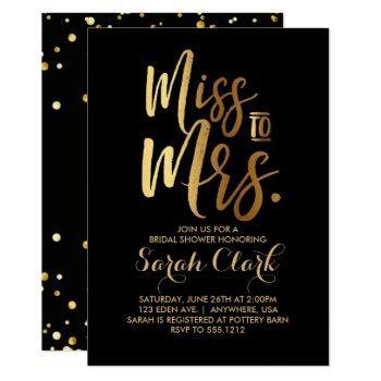 miss to mrs. bridal shower invitation