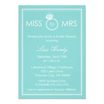 miss to mrs bridal shower invitation - any color