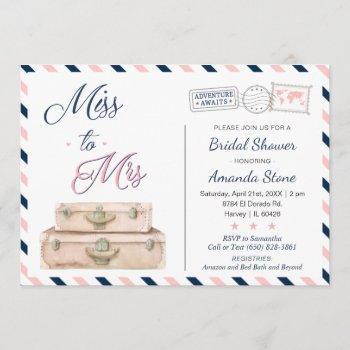 miss to mrs world travel bridal shower navy pink invitation