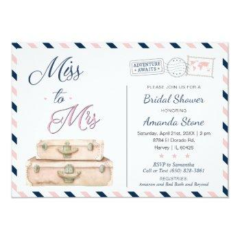 miss to mrs world travel bridal shower navy pink invitation