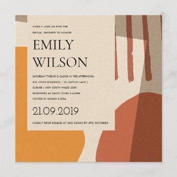modern abstract rust yellow artistic bridal shower invitation