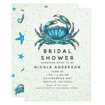 modern beach blue crab starfish bridal shower invitation