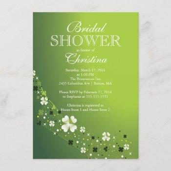 modern beautiful irish shamrock bridal shower invitation