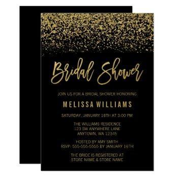 modern black faux gold glitter bridal shower invitation