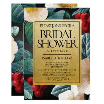 modern black gold cherry blossoms bridal shower invitation