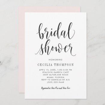 modern black script wedding bridal shower invitation