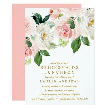 modern blush bouquet bridesmaids luncheon wedding invitation