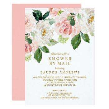 modern blush bouquet cancelled shower gold wedding invitation