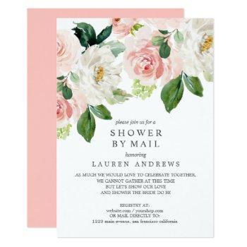 modern blush bouquet cancelled shower pink wedding invitation