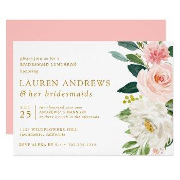 modern blush chic floral gold bridesmaid luncheon invitation