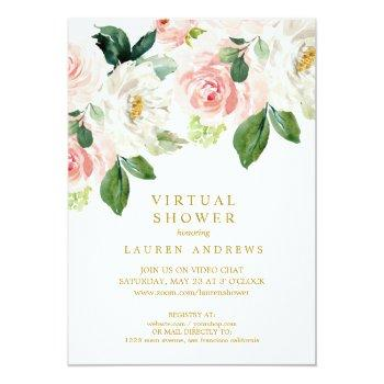 Small Modern Blush Gold Virtual Bridal Or Baby Shower Invitation Front View