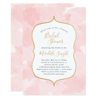 modern blush pink watercolor bridal shower invitation