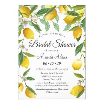 modern boho lemon summer bridal shower invitation