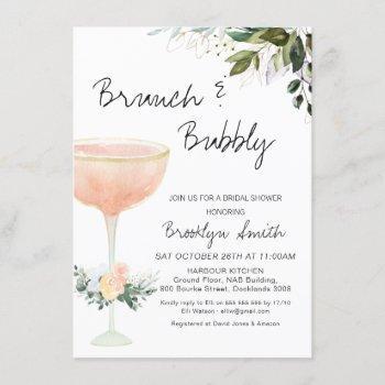 modern brunch champagne bridal shower invitation