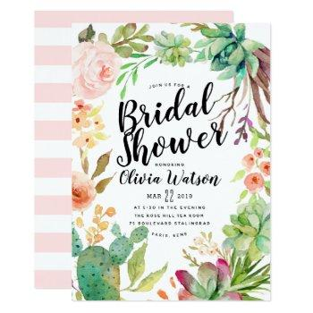 modern cactus succulent floral bridal shower invitation