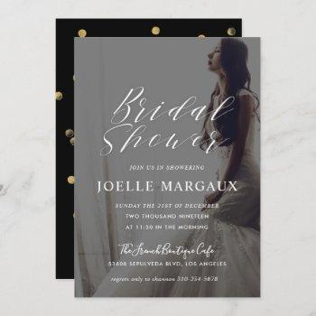modern calligraphy bridal shower photo invitation