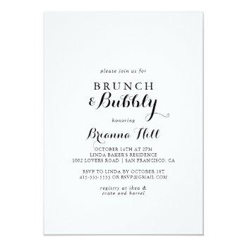modern calligraphy brunch and bubbly bridal shower invitation