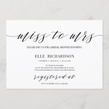 modern calligraphy miss to mrs bridal shower invitation