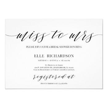 modern calligraphy miss to mrs bridal shower invitation