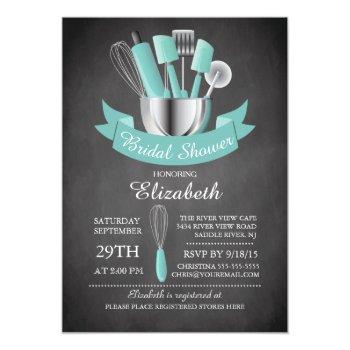 modern chalkboard stock the kitchen bridal shower invitation