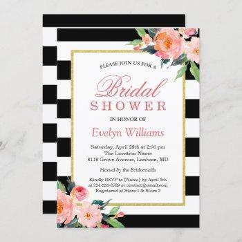 modern classic black stripes floral bridal shower invitation