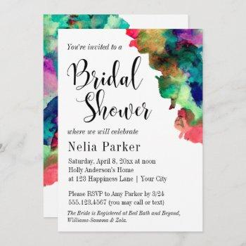 modern colorful watercolor bridal shower 2 invitation