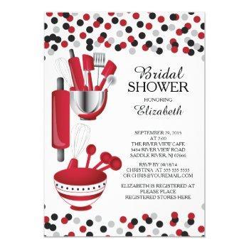 modern confetti kitchen bridal shower invitations