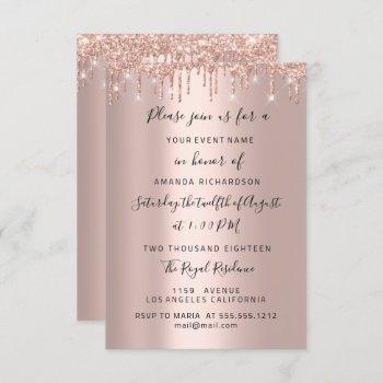 modern drips  rose gold  bridal wedding spark glit invitation
