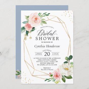 modern dusty blue blush pink floral bridal shower invitation
