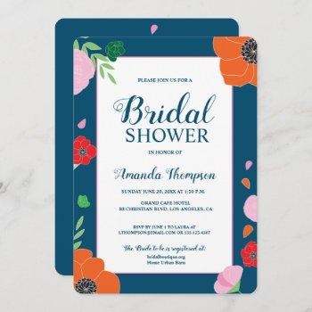 modern editable floral bridal shower invitation