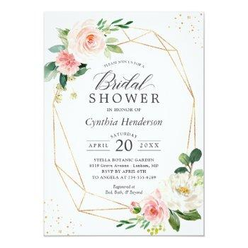 Small Modern Elegance Blush Pink Floral Bridal Shower Invitation Front View