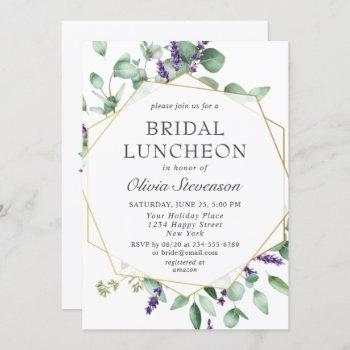modern eucalyptus geometric frame bridal luncheon invitation