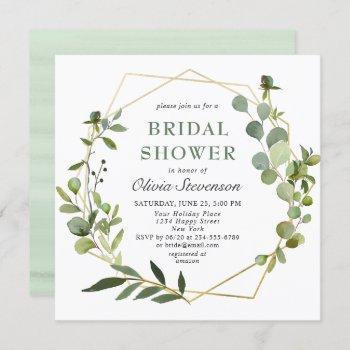 modern eucalyptus geometric frame bridal shower invitation