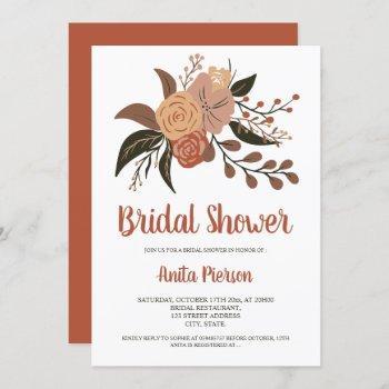 modern fall autumn orange floral bridal shower invitation