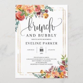 modern fall marigold brunch abd bubbuly invitation