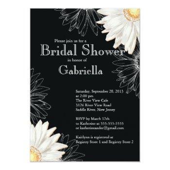 modern floral black white daisy bridal shower invitation