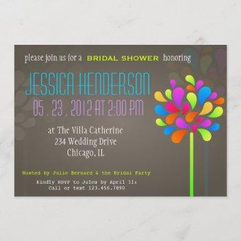 modern & fun tree rainbow bridal shower invitation