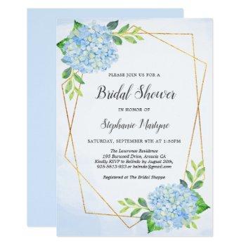 modern geometric blue hydrangea bridal shower invitation