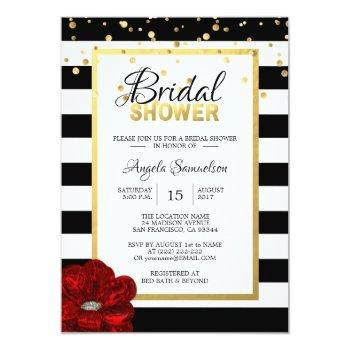 modern gold black white red rose bridal shower invitation