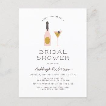 modern gold glitter & pink cocktails bridal shower invitation postcard