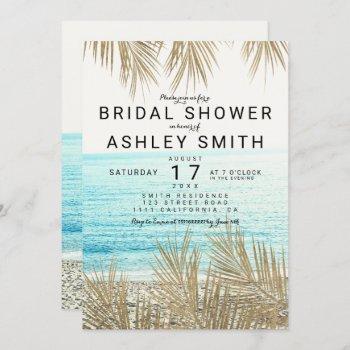 modern gold palm tree beach photo bridal shower invitation