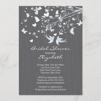 modern gray love birds bridal shower invitation