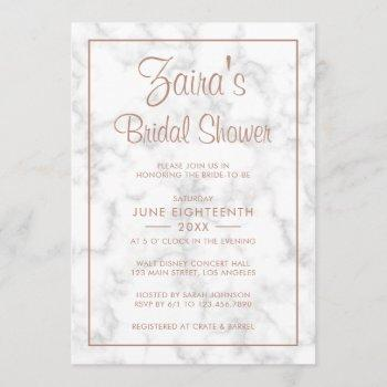 modern gray marble with rose gold bridal shower invitation